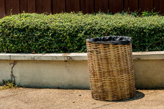 Bamboo weave trash can. With black plastic bag Royalty Free Stock Photography