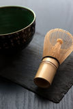 Bamboo whisk and the bowl Royalty Free Stock Images