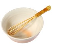 Bamboo whisk and ceramic bowl Stock Photos