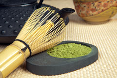 Bamboo whisk for green tea Royalty Free Stock Images