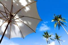 Bamboo white umbrella against the blue sky. Stock Photo