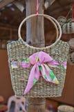 Bamboo wicker bag Stock Photo