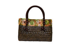 Bamboo wicker bag Royalty Free Stock Image