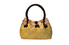 Bamboo wicker bag Stock Photo