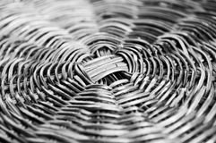 Bamboo wicker basket. Black and white shot Royalty Free Stock Images