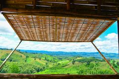 Free Bamboo Window With Moutain View. Royalty Free Stock Image - 102078266