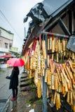 Bamboo wishing poles Stock Images