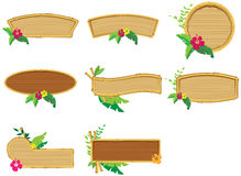 Bamboo wood frames. Wooden bamboo frames with flowers royalty free illustration
