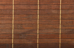 Bamboo wooden brown wicker braided mat background Stock Photos