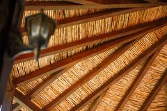 Bamboo and wooden ceiling. Ceiling of old building in Kakopetria village, Cyprus Stock Photos