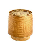 A bamboo wooden old style box. For sticky rice Stock Images