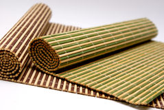Bamboo Wooden Placemats. Bamboo placemats colored by food Stock Images