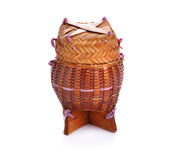 Bamboo wooden rice box call Kratib Rice in Thailand Stock Photo