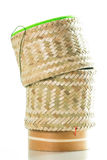 Bamboo wooden rice box for sticky rice on  Stock Photo