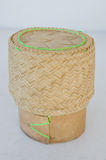 Bamboo wooden rice box. For sticky rice on wooden in thailand Stock Image