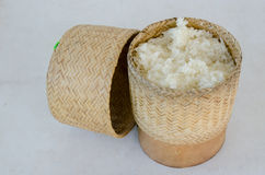 Bamboo wooden rice box. For sticky rice on wooden in thailand Stock Photos