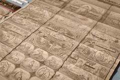 Bamboo wooden slips. Traditional asian Buddhist images carving on bamboo wooden slips Stock Photos