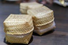 Bamboo wooden sticky rice box Stock Photo