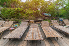 bamboo Wooden sunbeds in Tad Sae Waterfalls at Luang prabang, La Stock Photography
