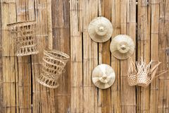 Free Bamboo Wooden Wall Decoration With Palm Leaves Hat And Bamboo Baskets Background Royalty Free Stock Photo - 159065795