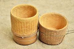 Bamboo woven box. Thai style on the floor Stock Images