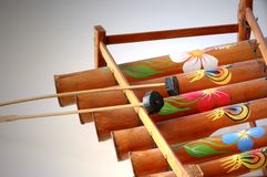 Bamboo Xylophone. Close up of a handmade bamboo xylophone Stock Photos
