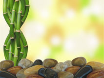 Bamboo and Zen rocks with Bokeh Background Royalty Free Stock Images