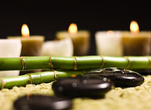 Bamboo and zen stones. With candles royalty free stock photos