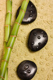 Bamboo and zen stones. On a sand background royalty free stock photo