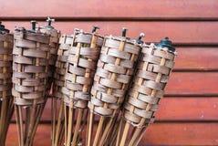 Bambou de flamme de torches Photos stock