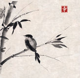 Bambou et oiseau Tiré par la main avec l'encre Photographie stock
