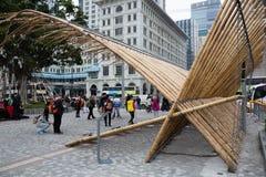 Bambou sculptural de composition dans Kowloon en Hong Kong Photographie stock libre de droits