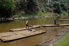 Bambou transportant par radeau dans la jungle au nord de l'AMI de Chaing Image libre de droits