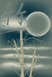 Bambu com lua Imagens de Stock Royalty Free
