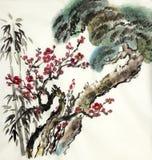 Bambu do pinho e um ramo da ameixa selvagem ilustração royalty free