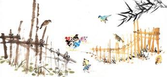 Bambu e a cerca Imagens de Stock Royalty Free
