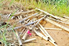 bambu efter flod royaltyfri fotografi