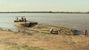 Bambu flotte, mekong, Kambodja, South East Asia stock video