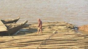 Bambu flotte, mekong, Kambodja, South East Asia arkivfilmer