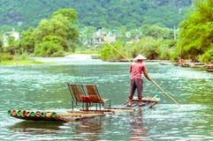 Bambu på den Li floden i Yangshuo Kina Royaltyfri Foto
