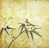 Bambu på gammalt grungeantikvitetpapper Arkivfoto