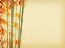 Bambu på gammalt grungeantikvitetpapper royaltyfri illustrationer