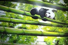 Bambu que escala com panda Fotografia de Stock