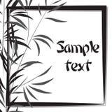 Bambubakgrund med ramen svart white Royaltyfria Bilder