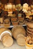 Bambubasketworkprodukt Fotografering för Bildbyråer