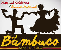 Bambuco`s Silhouette Dance Performance for Colombian Folkloric Festival, Vector Illustration Stock Photo