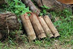 Bambuflaska 3 Arkivfoto
