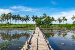 Bambugångbana och bambuhydda på dammet arkivfoton