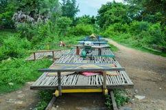 Bambujärnväg, Battambang, Cambodja September 5, 2015 Royaltyfri Foto