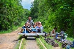 Bambujärnväg, Battambang, Cambodja September 5, 2015 Fotografering för Bildbyråer